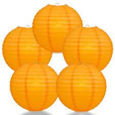 """(5-Pack) 10"""" Orange Round Paper Lantern, Even Ribbing, Hanging Decoration"""
