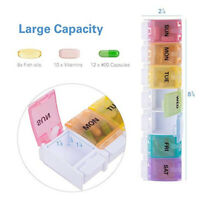 UK Daily Pill Box Organiser Medicine Tablet Storage Weekly Dispenser 7 Day Week