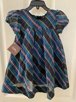 Tea Collection Plaid Silk Blend Dress and Bloomers Set Girls SZ 18-24 Months NWT