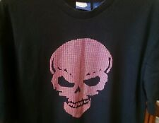 Men's Black T-Shirt with a skull on front Large 100% cotton