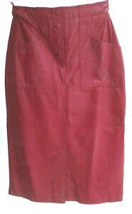 Deerskin Trading Post Leather Skirt Midi 6 Snap closure pockets front slit Red