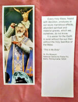 """BOOKMARK PADRE PIO """"THIS IS MY BODY""""  W/ QUOTES FROM THE SAINT-BUY 3 GET 1 FREE!"""