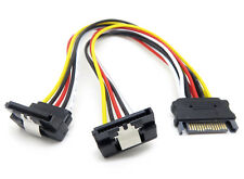 0.2m SATA Male to Dual SATA Y Splitter SSD Power Extension Cable Angle Angled