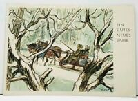 Germany Artist Cefischer Happy New Year Winter Horse Drawn Sled Postcard F13
