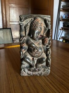 1700's Ancient Black Stone Very Old Rare Early Period Hindu Lord Ganesha Statue