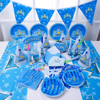 89Pcs Blue Prince Boy Kid Birthday Party Supply Tableware Decoration Banner Cups