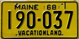 1968 Maine Vacationland American License Licence Number Plate 190-037