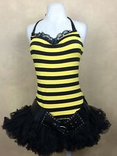 Bumble Bee Dress Halloween Costume Steampunk Belt Tutu Halter  M/L Jr
