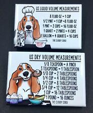 Basset Hound Dog Conversion Chart Magnet Set Baking Cooking Measuring Tool Guide