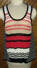Peter Som Women's Size L Sleeveless Top Black Red Tan Beige Stripe New With Tags