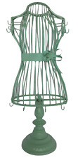 Vintage Jewelry Holder Dress Mannequin Mint Green Footed Stand Bow Hooks 18