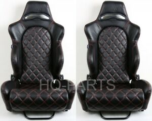 2 TANAKA BLACK PVC LEATHER RACING SEATS RECLINABLE RED DIAMOND STITCH FOR NISSAN