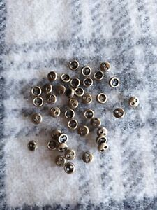 40 tiny antique bronze metal alloy sewing craft miniature buttons 3mm 2 hole