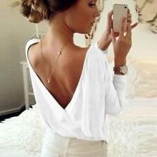 Womens Oversized Tops Open Back V-neck T-shirt Sweatershirt Casual Jumper Blouse