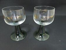 2 Schmitt Sohne W.Germany 0.1L Wine Taster Glasses Green Glass Beehive Stems