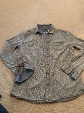 Women's Roxy Pale denim long sleeved shirt, with a floral design, Size Medium
