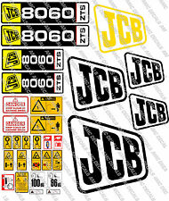 JCB 8060 CHROME Complet Mini pelle decal sertie de SAFTY Avertissement