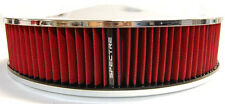 "SPECTRE 14X3 CHROME RACING AIR CLEANER FILTER ASSEMBLY Fits 5-1/8"" HOLLEY CARB"