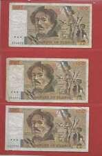 Lot de 3 x 100 FRANCS EUGENE  DELACROIX de 1979 ALPHABETS  D.20  K.20  Y.20