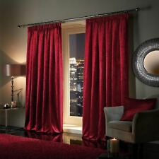 RED Plush Crushed Velour Faux Velvet Pencil Pleat / Eyelet Ring Top Curtains