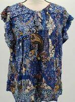 Women's Floral Print Flutter Short Sleeve Blouse - Knox Rose - Blue Small
