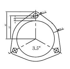 """Custom Universale 89mm 3.5"""" in acciaio inox 304 FLANGIA DI SCARICO 3 Bullone Triangolare"""