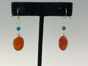 Jay King DTR Sterling Carved Carnelian Cameo & Turquoise Bead Dangle Earrings