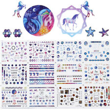 12Patterns Water Decal Rainbow Unicorn Hexagram Nail Art Transfer Stickers DIY