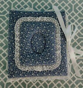 "Handmade Blue Calico Print & Lace 12"" X 10.5"" Photo Album"