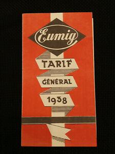 CINEMA PROJECTION - EUMIG tarif général - 1938 - caméras projecteurs accessoires