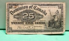 1900 Canada 25 Cents Currency Dominion Banknote