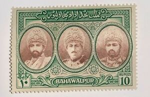 Travelstamps:1948 Pakistan Bahawalpur #15 10 Rupees High Value VF Mint Og Hinged