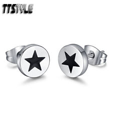 TTstyle Silver/Black Stainless Steel Round STAR Earrings A Pair