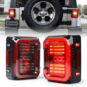 Xprite 2pc LED Tail Light Smoke Brake Turn Signal for Jeep 2007-2018 Wrangler JK