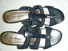 KIM ROGERS BLACK FABRIC SLIDES 7.5M 2.5 INCH HEEL