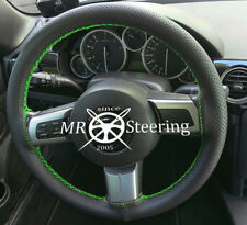 FITS MAZDA MX5 MK3 BLACK PERFORATED LEATHER STEERING WHEEL COVER GREEN STITCHING