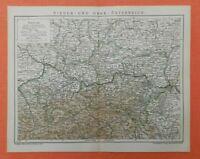 Österreich Niederösterreich Oberösterreich Böhmen Steiermark Landkarte Dez. 1902
