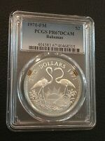 1971 Bahamas Proof 2 Dollar .925 Sterling Silver Flamingo Coin PCGS PR67 DCAM!
