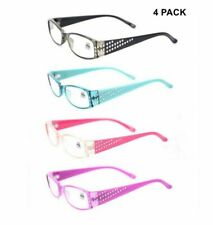 4 PACK Womens Fashion Reading Glasses Rectangle Readers 1.0 1.5 2.0 2.5 3.0 3.5