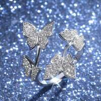 Charm Women Rhinestone Crystal Butterfly Ring Opening Adjustable Ring Jewelry