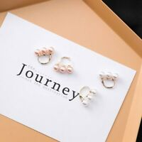 Three Simulated Pearls Beaded Hoop Earrings Small Earring Women  Jewelry  Gift