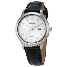 Seiko Classic Silver Dial Black Leather Ladies Watch SUR703P1