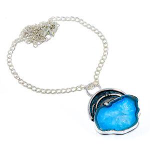 "Botswana Agate Druzy Handmade 925 Sterling Silver Jewelry Necklace 17.99"" VIN-28"