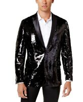 INC Mens Blazer Silver Black Size 2XL Sequin Embellished Slim Fit $149 160
