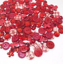 150 Ruby Red Colour Button Flatback Mix Embellishments Craft Buttons Cardmaking