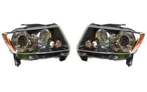 NEW Left & Right Genuine Headlights Headlamps Pair Set For Jeep Compass 14-17