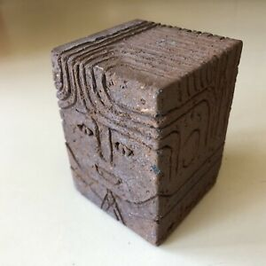 Studio Pottery Brick Paperweight Desk Office Bank Worker Figurine Mutual