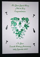 HANDMADE PERSONALISED EMERALD WEDDING 55th ANNIVERSARY CARD HEART