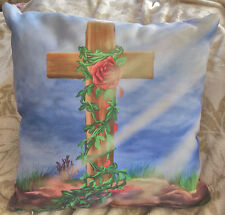 16X16 inch Decorative Pillow w/ Cross and Rose