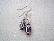 CERAMIC MONOCHROME BEAD Silver Plated BLACK WHITE STRIPE Earrings Gift Bag AZTEC